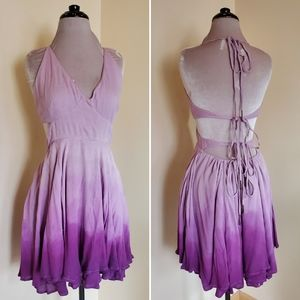 Free People Lille Lilac Mini Dress Tie Up Ombre